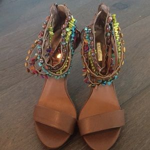 Wild pair sandal heels 6 6.5 colorful stones rocks